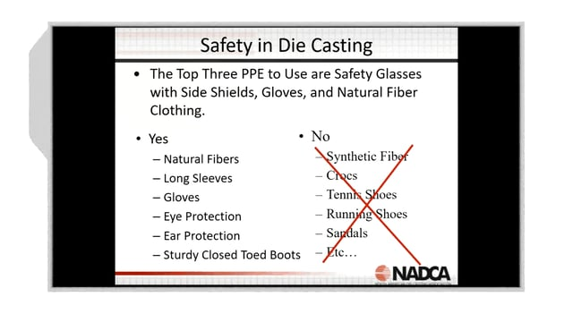 2018-03-07 – Basic Operator Training: Introduction to Die Casting & Safety on the Shop Floor –  Highlight